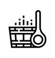 wooden sauna bucket spa salon line icon vector image vector image