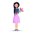 young woman with bouquet of roses vector image vector image
