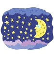 Cartoon crescent with face in the sky vector image