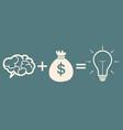 motivation concept brain plus money idea vector image