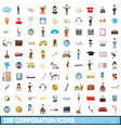 100 corporation icons set cartoon style vector image vector image