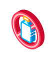 allergen free sign lactose isometric icon vector image vector image