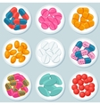 Assortment of pills and capsules in container vector image vector image