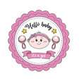 baby shower emblem to welcome a girl vector image