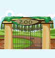 background scene zoo park with big gate vector image
