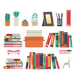 bookshelves set flat shelf book in room library vector image vector image