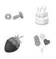 building dessert and other monochrome icon in vector image vector image