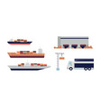 cargo ship and other import transport set vector image vector image