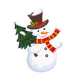cheerful snowman holding a christmas tree holiday vector image