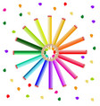 colorful crayons background round circled vector image vector image