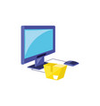 computer monitor with parasol store and box vector image vector image