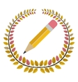 crown of leaves with pencil vector image vector image