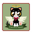 cute black kitty with festive banner and pun vector image