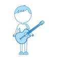 Cute blue body man cartoon vector image