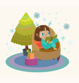 cute child reading a book in a large armchair a vector image vector image