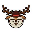 cute vintage deer face cartoon vector image vector image