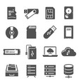 data storage bold black silhouette icons set vector image vector image