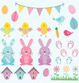Easter Bunny Chicks Collections vector image vector image