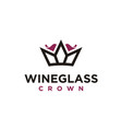 elegant wine glass crown king queen logo design vector image
