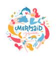 funny mermaids with handwritten lettering mermaid vector image vector image