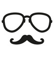 hipster mustache nerd glasses vector image vector image