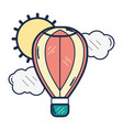 hot air balloon flying vector image vector image