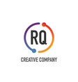 initial letter rq creative circle logo design vector image vector image