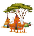 isolated picture people riding camels vector image vector image