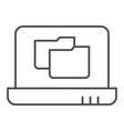 laptop folder thin line icon file folder on vector image vector image