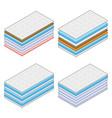 layered orthopedic mattress set on white vector image vector image
