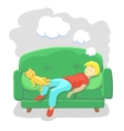 Man Sleeping at Home on Sofa vector image