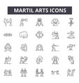 martial arts concept line icons signs set vector image vector image