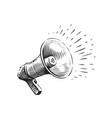 megaphone sketch hand drawn retro loudspeaker vector image vector image