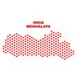meghalaya state map - mosaic of heart hearts vector image vector image