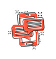 mobile phone chat sign icon in comic style vector image