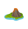 mountain with crater and hot flowing lava large vector image vector image