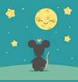 mouse admire sky with cheese moon and stars vector image vector image