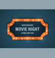 movie night sign vector image vector image