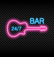 neon bar sign with guitar vector image vector image