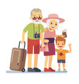 old people with grandson travelers on holiday vector image