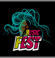pop art black woman scream music festival vector image