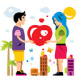 romantic couple give love valentines day vector image vector image