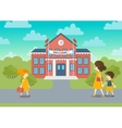 School building and schoolchild vector image vector image