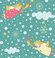 Seamless pattern with Christmas angels vector image