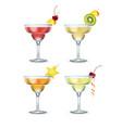 set margarita cocktails vector image