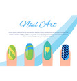 set of color patterns on nails vector image vector image