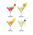 set of margarita cocktails vector image vector image