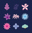 set of tropical leafs and flowers vector image vector image