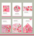set with six floral romantic templates roses and vector image vector image