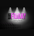 shop discounts black friday banner in spotlights vector image vector image